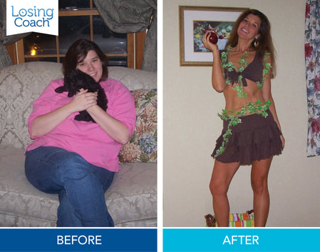 Weight Loss Expert and Losing Coach® Creator Founder Shelley Johnson before and after losing 90 pounds